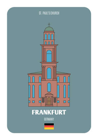 St. Paul's Church, in Frankfurt, Germany. Architectural symbols of European cities. Colorful vector