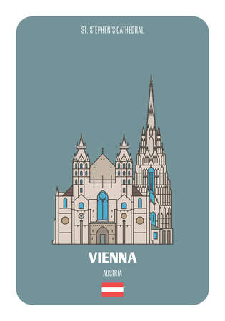 St. Stephens Cathedral in Vienna, Austria. Architectural symbols of European cities. Colorful vector Vetores