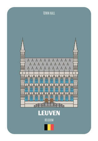 Town Hall in Leuven, Belgium. Architectural symbols of European cities. Colorful vector
