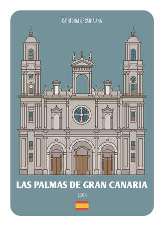 Cathedral of Santa Ana in Las Palmas de Gran Canaria, Spain. Architectural symbols of European cities. Colorful vector Ilustración de vector
