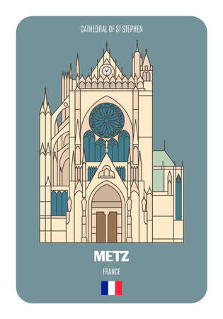 Cathedral of St Stephen in Metz, France. Architectural symbols of European cities. Colorful vector