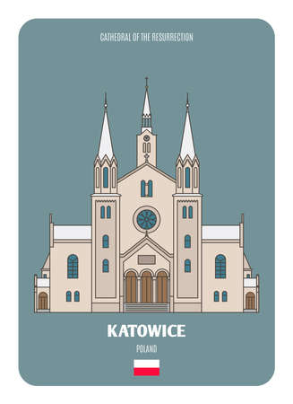 Cathedral of the Resurrection in Katowice, Poland. Architectural symbols of European cities. Colorful vector Ilustracje wektorowe