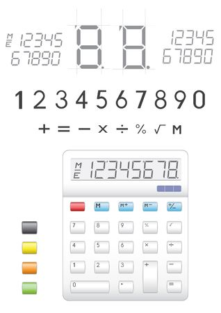 electronic calculator, digits, buttons and symbols to it Stock Vector - 6547847
