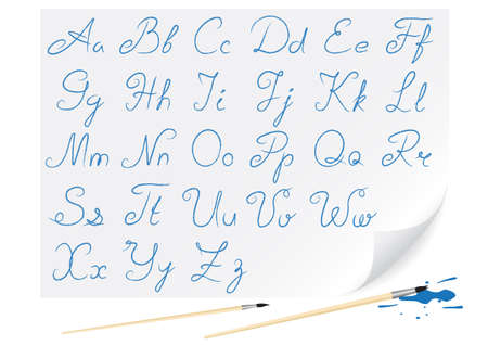 Hand-written font for creation congratulatory inscriptions photo