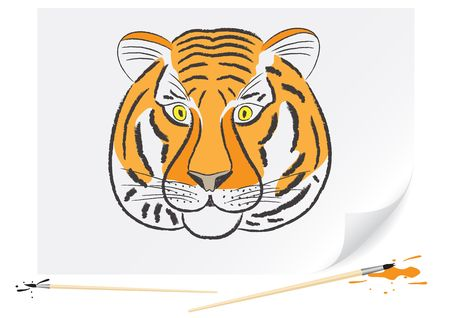 Children drawing of a tiger a brush paints on a paper photo