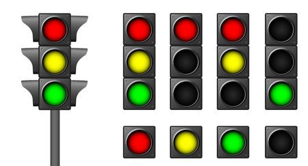 The isolated traffic lights for combinations of road situations photo