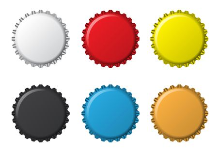 bottle opener: The colors bottlecaps on a white background