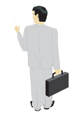 The reading businessman, the rear view, on white background Vector