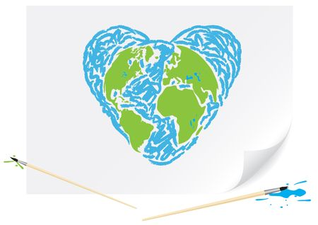 Children drawing a green earth heart a brush paints on a paper Vector