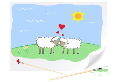 the enamoured: Two enamoured sheep are drawn on a paper by a brush Illustration