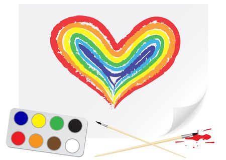 Children drawing of a rainbow heart a brush paints on a paper Vector