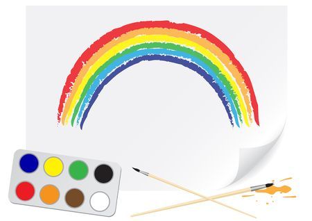 Children drawing of a rainbow a brush paints on a paper Vector