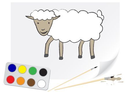 grazed: The sheep is drawn on a paper by a brush Illustration