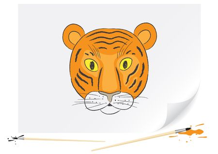 Children drawing of a small tiger a brush paints on a paper Stock Vector - 6584050
