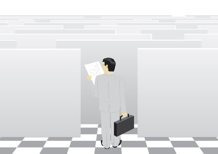 moneymaker: The businessman passes through a labyrinth to success