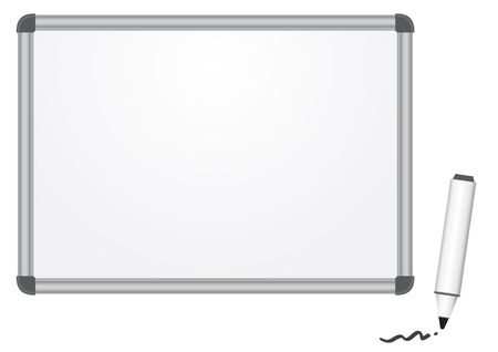 The magnetic white marker board isolated on the white background Vector