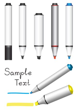 Different board markers isolated on white background Stock Vector - 6584057
