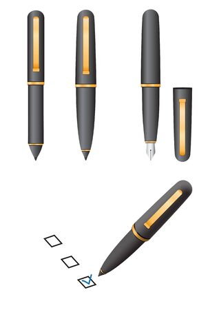 The black pen isolated on the white background Vector