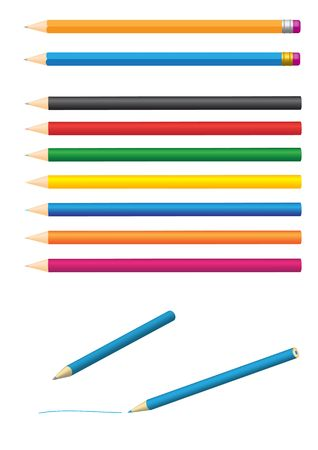 Different colored pencils isolated on white background Vector