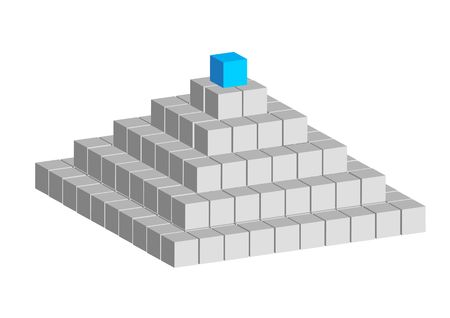 constructed: Pyramid constructed of abstract cubes on white background