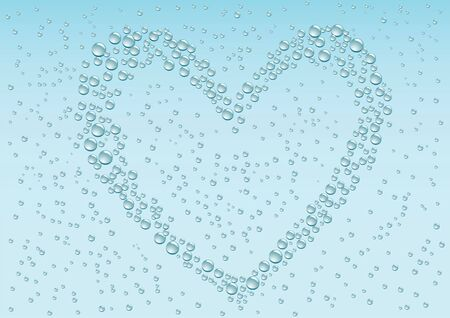 monsoon: Drops love heart on the blue condensation background