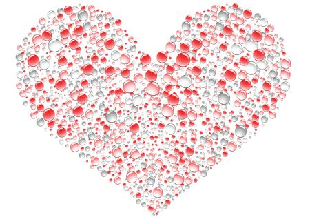Romantic drops heart on the white background Vector