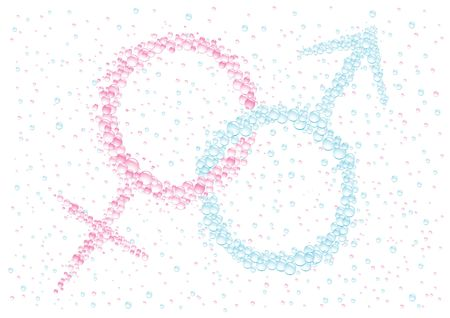 it s a boy: Mans and female symbols on the white drops background