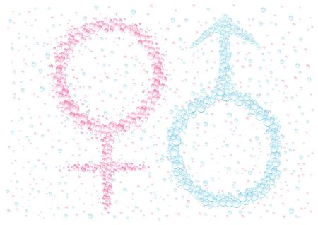 it s a boy: Mans and female symbol on the white drops background