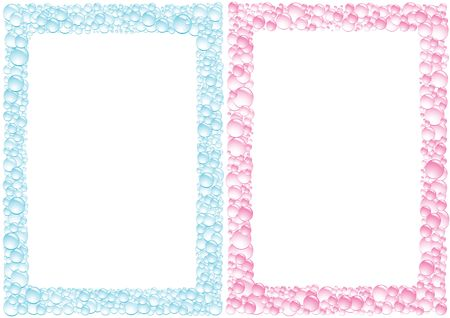 Pink and blue drops square framework on the white background