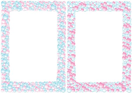 Pink and blue square drops framework on the white background Vector