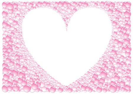 The pink framework heart on white background Vector