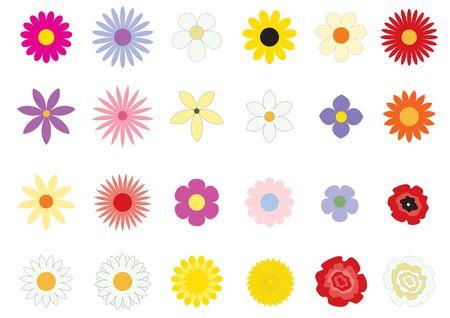 modyfikować: Proste kwiaty na białym tle
