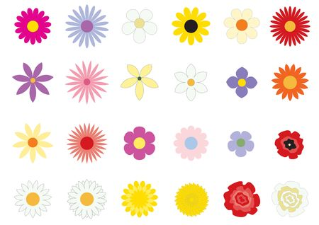 The simple flowers on the white background