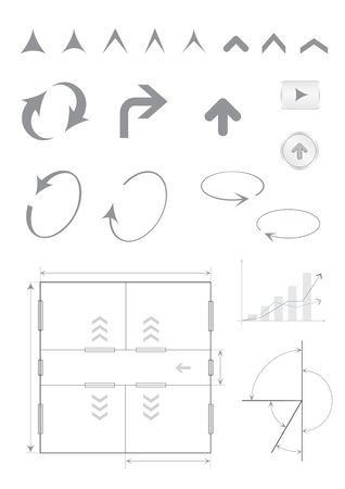 Different arrows and indexes isolated on the white background