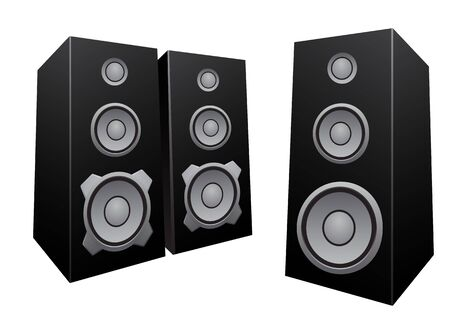 sounding: The black 3d speakers isolated on the white background Illustration