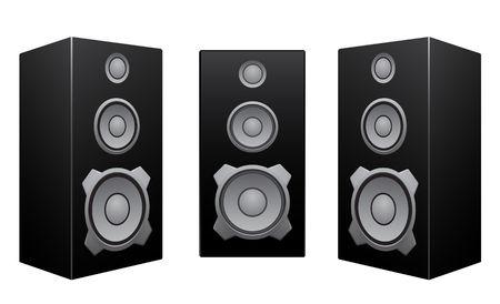 De zwarte 3d luidsprekers geïsoleerd op de witte achtergrond Vector Illustratie