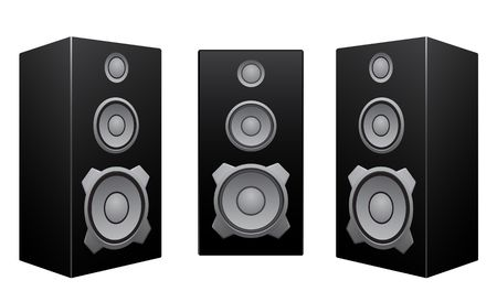 speakers: The black 3d speakers isolated on the white background Illustration