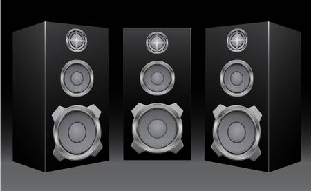 The black 3d speakers on the black background Vector