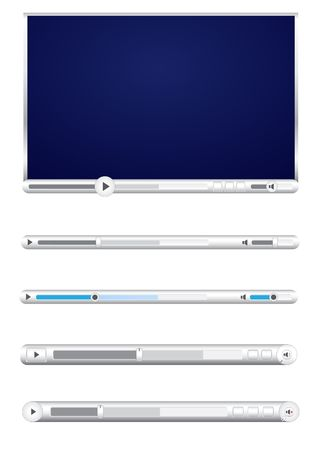 Browser video player isolated on the white background Vector