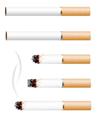 cigarrillos: El cigarrillo y el humo stub aislados sobre fondo blanco