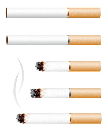 The cigarette and smoke stub isolated on white background Illusztráció