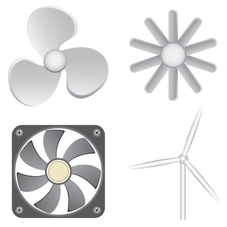 ventilate: Different fans isolated on the white background