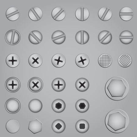 Set of screw, nut, bolt on the gray background