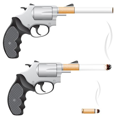 toxic substance: Revolver with a cigarette barrel isolated on white Illustration