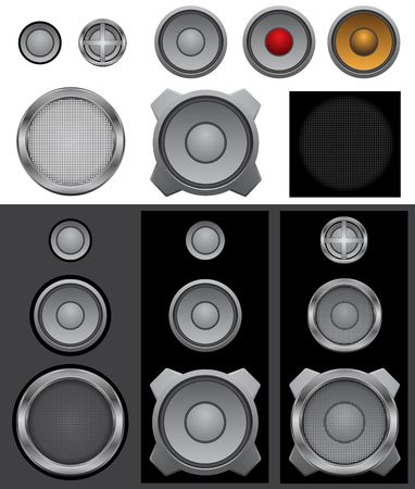 The music audio speakers and lattices isolated on the white background