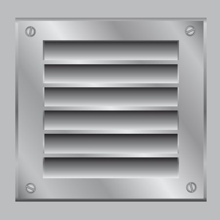The ventilation lattice fastened by bolt on the gray background Vector