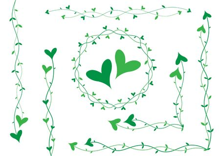 Green hearts on small stalks, scenery for cards Stock Photo - 6744391