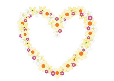 The flowers heart on the white background Stock Vector - 6744362