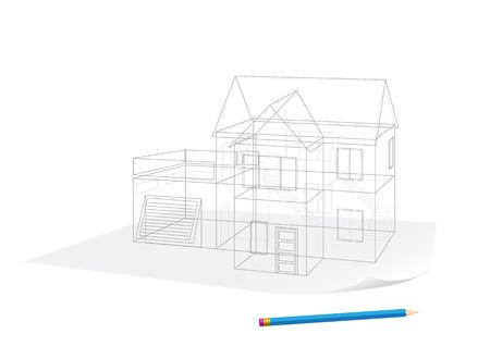 Abstract transparent house sketch drawing with pen on white background