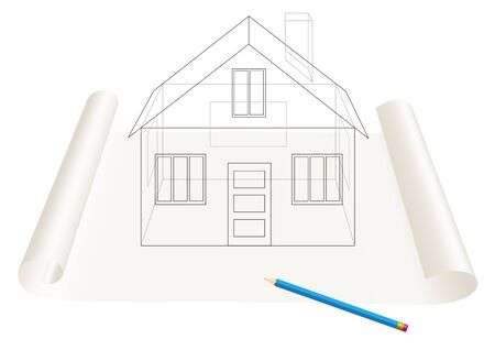 Abstract transparent house sketch drawing with pen on a paper roll Stock Vector - 6744402